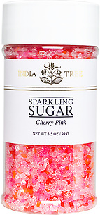 10221 Cherry Pink Sparkling Sugar, Small Jar 3.5 oz, India Tree Storefront