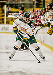 15 November 2015: University of Vermont Catamount Forward Mario Puskarich, a Junior from Fort Walton Beach, FL, in action against the University of Massachusetts Minutemen at Gutterson Fieldhouse in Burlington, Vermont. The Minutemen rallied from a three goal deficit to tie the game 3-3 in their Hockey East matchup. Mandatory Credit: Ed Wolfstein Photo *** RAW (NEF) Image File Available ***