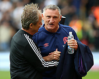 Blackburn Rovers manager Tony Mowbray chats with a member of the Fulham coaching staff<br /> <br /> Photographer David Shipman/CameraSport<br /> <br /> The EFL Sky Bet Championship - Fulham v Blackburn Rovers - Saturday 10th August 2019 - Craven Cottage - London<br /> <br /> World Copyright © 2019 CameraSport. All rights reserved. 43 Linden Ave. Countesthorpe. Leicester. England. LE8 5PG - Tel: +44 (0) 116 277 4147 - admin@camerasport.com - www.camerasport.com