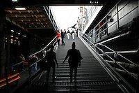 New York, USA. 22nd May, 2014. people walks at pier 92 in Manhattan during the Fleet Week in New York.  Kena Betancur/VIEWpress