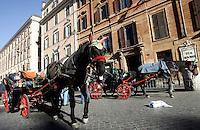 """Un cavallo traina una botticella in piazza di Spagna, Roma, 13 dicembre 2010..A horse drawing a typical """"botticella"""", carriage, is seen in Spain's Square, Rome, 13 December 2010..© UPDATE IMAGES PRESS/Riccardo De Luca"""