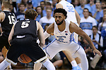 CHAPEL HILL, NC - DECEMBER 20: North Carolina's Joel Berry II (2) guards Wofford's Storm Murphy (5). The University of North Carolina Tar Heels hosted the Wofford College Terriers on December 20, 2017 at Dean E. Smith Center in Chapel Hill, NC in a Division I men's college basketball game. Wofford won the game, upsetting UNC, 79-75.