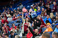 NWA Democrat-Gazette/CHARLIE KAIJO Arkansas Razorbacks fans cheer during the Southeastern Conference Men's Basketball Tournament, Thursday, March 8, 2018 at Scottrade Center in St. Louis, Mo.