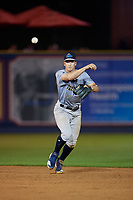 Trenton Thunder shortstop Kyle Holder (6) throws to first base during an Eastern League game against the Reading Fightin Phils on August 16, 2019 at FirstEnergy Stadium in Reading, Pennsylvania.  Trenton defeated Reading 7-5.  (Mike Janes/Four Seam Images)