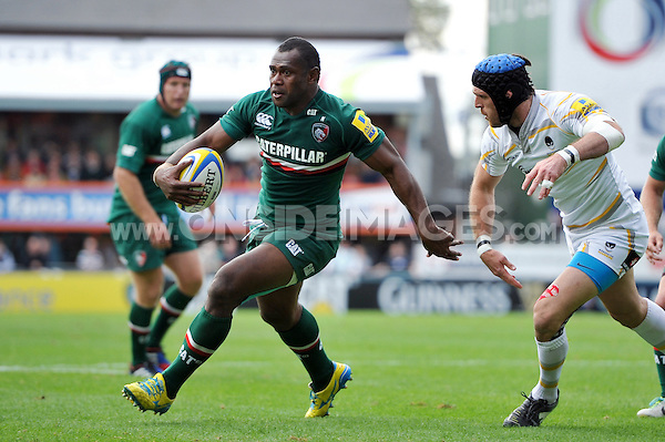 Vereniki Goneva goes on the attack. Aviva Premiership match, between Leicester Tigers and Worcester Warriors on September 8, 2013 at Welford Road in Leicester, England. Photo by: Patrick Khachfe / JMP