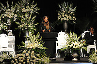 Muhammad Ali's daughter Rasheda Ali-Walsh speaks at the memorial service for her father, boxing legend Muhammad Ali, at the KFC Yum! Center in Louisville, Kentucky on June 10, 2016.  Ali was involved in the planning of the ceremony which included speeches from leaders of numerous faith as well as comedian Billy Crystal and former American President Bill Clinton.