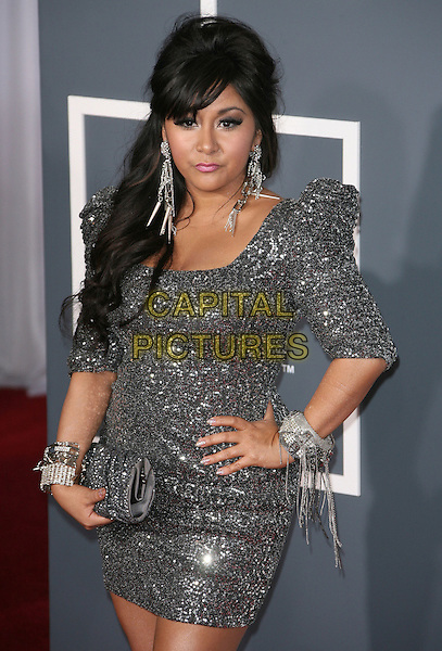NICOLE 'SNOOKI' POLIZZI.The 53rd Annual GRAMMY Awards held at the Staples Center, Los Angeles, California, USA..February 13th, 2011.arrivals grammys half length silver dress clutch bag puff sleeve bracelets hand on hip grey gray earrings.CAP/ADM.©AdMedia/Capital Pictures.