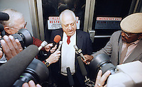 Los Angeles Dodgersí manager Tommy Lasorda meets with reporters at Los Angeles International Airport, Wednesday, Oct. 26, 1988 after returning from the White House where the World Champion Dodgers were honored by President Reagan. Lasorda also was named as the National League manager of the year. (Photo by /Alan Greth)