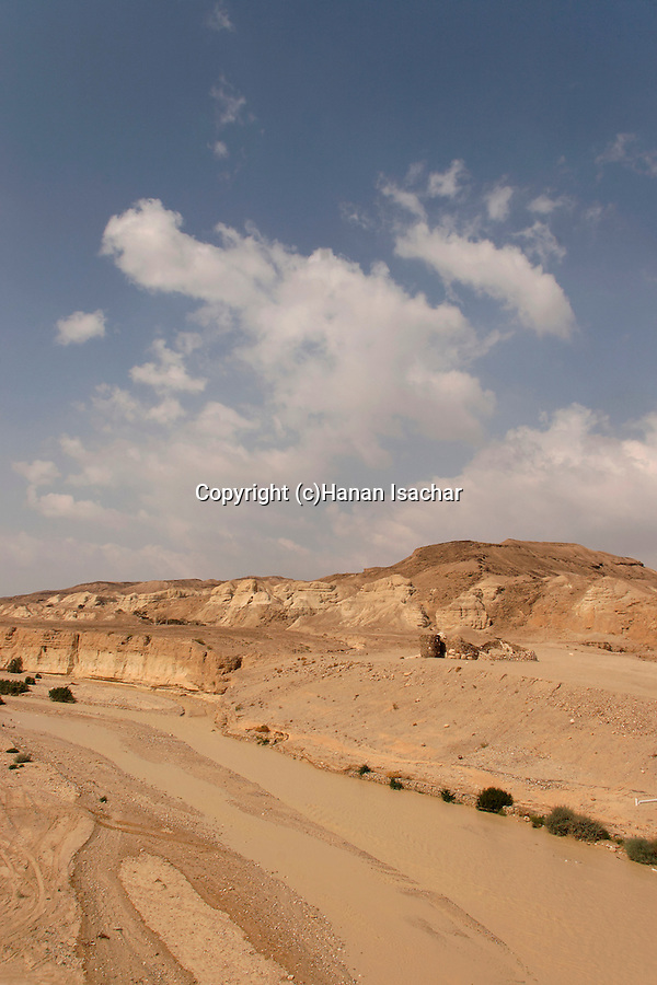 Israel, the Negev desert. Flood in Wadi Zin