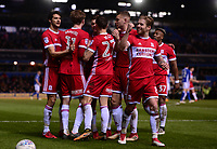 Patrick Bamford of Middlesbrough celebrates with his team mates after he scores to make it 1-0 during the Sky Bet Championship match between Birmingham City and Middlesbrough at St Andrews, Birmingham, England on 6 March 2018. Photo by Bradley Collyer / PRiME Media Images.