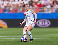 REIMS,  - JUNE 24: Becky Sauerbrunn #4 passes the ball during a game between NT v Spain and  at Stade Auguste Delaune on June 24, 2019 in Reims, France.