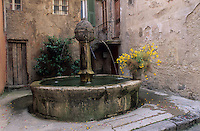 Europe/France/Provence-Alpes-Côtes d'Azur/06/Alpes-Maritimes/Alpes-Maritimes/Arrière Pays Niçois/Sospel : Détail d'une fontaine et maisons