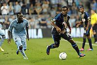 Union midfielder Amobi Okugo (14) in action..Sporting Kansas City defeated Philadelphia Union 2-1 at LIVESTRONG Sporting Park, Kansas City, KS.