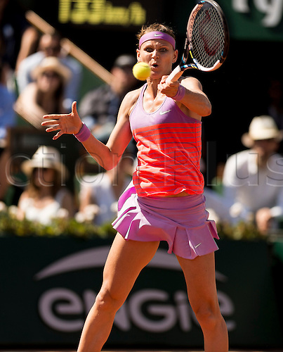 04.06.2015. Paris, France. Roland Garros French Open. Lucie Safarova of Czech Republic in action during her Women's Singles match against Ana Ivanovic of Serbia on day twelve of the 2015 French Open 2015 in Paris, France. Safarova won the match 7-5 7-5 to move into the final.