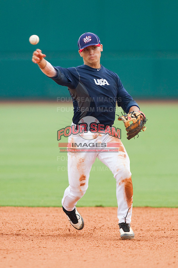 Second baseman Tony Wolters #1 during the USA Baseball 18U National Team Trials at the USA Baseball National Training Center on June 30, 2010, in Cary, North Carolina.  Photo by Brian Westerholt / Four Seam Images