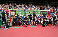 "Pictured: Swansea bench, Garry Monk, Josep ""Pep"" Clotet, Kristian O'Leary, Richard Buchanan, Alan Curtis<br />