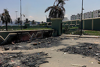 Tripoli, Libya, August 25, 2011.The main gate from Khaddafi's Bab Aziziya compound, now entirely in the hands of the rebels, bear proof of the heavy fighting.