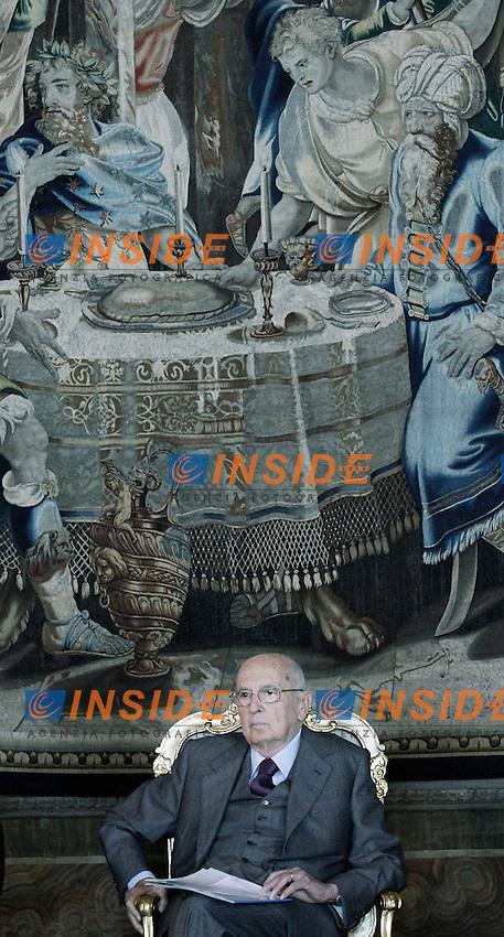 Il Presidente della Repubblica Giorno Napolitano.Roma 03/04/2012 Cerimonia di presentazione dei David di Donatello 2012 al Quirinale.Foto Serena Cremaschi Insidefoto