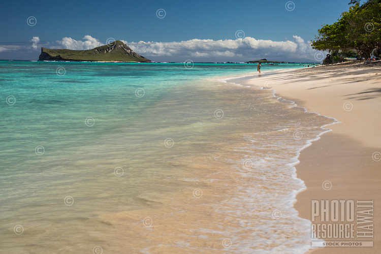 A woman takes in the view of Rabbit and Bird Islands while standing in the gentle surf of Waimanalo Bay at Waimanalo Beach, Windward O'ahu.
