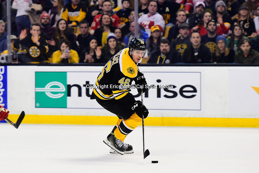 Tuesday, January 24, 2017: Boston Bruins center David Krejci (46) in game action during the National Hockey League game between the Detroit Red Wings and the Boston Bruins held at TD Garden, in Boston, Mass. Boston defeats Detroit 4-3 in overtime. Eric Canha/CSM
