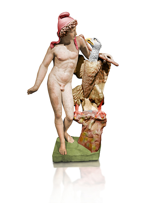 Painted colour verion of Roman marble sculpture of Ganymede with an eagle, a 2nd century AD copy from an original 2nd century BC late Hellanistic Greek original, inv 6405, Museum of Archaeology, Italy