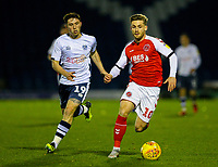Fleetwood Town's Conor McAleny gets away from Bury's Jamie Barjonas<br /> <br /> Photographer Alex Dodd/CameraSport<br /> <br /> The EFL Checkatrade Trophy Group B - Bury v Fleetwood Town - Tuesday 13th November 2018 - Gigg Lane - Bury<br />  <br /> World Copyright &copy; 2018 CameraSport. All rights reserved. 43 Linden Ave. Countesthorpe. Leicester. England. LE8 5PG - Tel: +44 (0) 116 277 4147 - admin@camerasport.com - www.camerasport.com