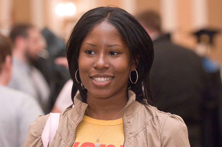 """LaToya Lewis...Ohio University Graduation Fair 2008: Countdown to Commencement was on April 16 in Baker University Center Ballroom. The event offered """"one-stop shopping"""" for all things graduation, said Director of University Events Gretchen Stephens."""