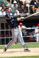 Milwaukee Brewers outfielder Ryan Braun #8 swings during the Major League Baseball game against the Chicago White Sox on June 24, 2012 at US Cellular Field in Chicago, Illinois. The White Sox defeated the Brewers 1-0 in 10 innings. (Andrew Woolley/Four Seam Images).