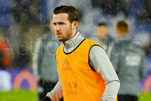 8th January 2020; King Power Stadium, Leicester, Midlands, England; English Football League Cup Football, Carabao Cup, Leicester City versus Aston Villa; Ben Chilwell of Leicester City during the pre-match warm-up - Strictly Editorial Use Only. No use with unauthorized audio, video, data, fixture lists, club/league logos or 'live' services. Online in-match use limited to 120 images, no video emulation. No use in betting, games or single club/league/player publications
