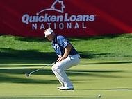 Bethesda, MD - June 25, 2016: Billy Hurley III reacts to a missed putt on the 17th hole during Round 3 of professional play at the Quicken Loans National Tournament at the Congressional Country Club in Bethesda, MD, June 25, 2016.  (Photo by Don Baxter/Media Images International)
