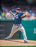 23 August 2015: Milwaukee Brewers pitcher Matt Garza on the mound against the Washington Nationals at Nationals Park in Washington, DC. The Nationals defeated the Brewers 9-5 in the third game of their 3-game weekend series. Mandatory Credit: Ed Wolfstein Photo *** RAW (NEF) Image File Available ***