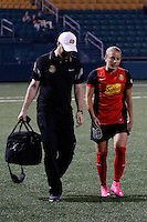 Rochester, NY - Friday May 27, 2016: Western New York Flash forward Adriana Leon (19) walks off the field with head trainer Jeremiah Sorenson. The Western New York Flash defeated the Boston Breakers 4-0 during a regular season National Women's Soccer League (NWSL) match at Rochester Rhinos Stadium.