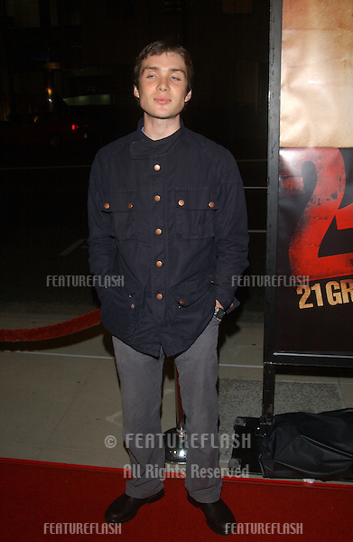 Actor CILLIAN MURPHY at the Los Angeles premiere of 21 Grams..November 6, 2003.