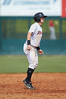 Nolan Brown (6) of the Kannapolis Intimidators takes his lead off of second base against the Lakewood BlueClaws at Kannapolis Intimidators Stadium on April 8, 2018 in Kannapolis, North Carolina.  The Intimidators defeated the BlueClaws 5-1 in game one of a double-header.  (Brian Westerholt/Four Seam Images)