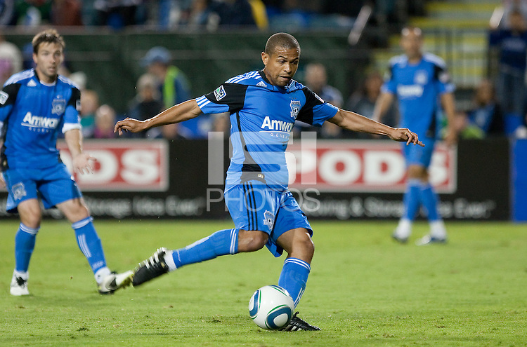Geovanni kicks the ball. The Houston Dynamo defeated the San Jose Earthquakes 1-0 at Buck Shaw Stadium in Santa Clara, California on October 16th, 2010.