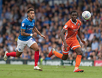 Portsmouth's Andre Green (left) battles for possession with Shrewsbury Town's Josh Emmanuel (right) <br /> <br /> Photographer David Horton/CameraSport<br /> <br /> The EFL Sky Bet League One - Portsmouth v Shrewsbury Town - Saturday September 8th 2018 - Fratton Park - Portsmouth<br /> <br /> World Copyright &copy; 2018 CameraSport. All rights reserved. 43 Linden Ave. Countesthorpe. Leicester. England. LE8 5PG - Tel: +44 (0) 116 277 4147 - admin@camerasport.com - www.camerasport.com