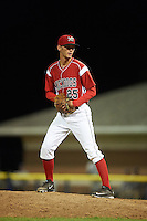Batavia Muckdogs pitcher Kyle Keller (25) gets ready to deliver a pitch during a game against the Mahoning Valley Scrappers on June 23, 2015 at Dwyer Stadium in Batavia, New York.  Mahoning Valley defeated Batavia 11-2.  (Mike Janes/Four Seam Images)