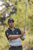 Xander Schauffele (USA) watches his tee shot on 18 during round 3 of the World Golf Championships, Mexico, Club De Golf Chapultepec, Mexico City, Mexico. 3/3/2018.<br /> Picture: Golffile | Ken Murray<br /> <br /> <br /> All photo usage must carry mandatory copyright credit (&copy; Golffile | Ken Murray)