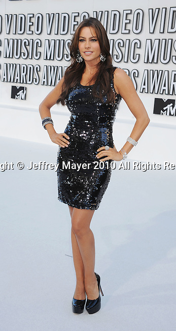 LOS ANGELES, CA. - September 12: Sofia Vergara arrives at the 2010 MTV Video Music Awards held at Nokia Theatre L.A. Live on September 12, 2010 in Los Angeles, California.