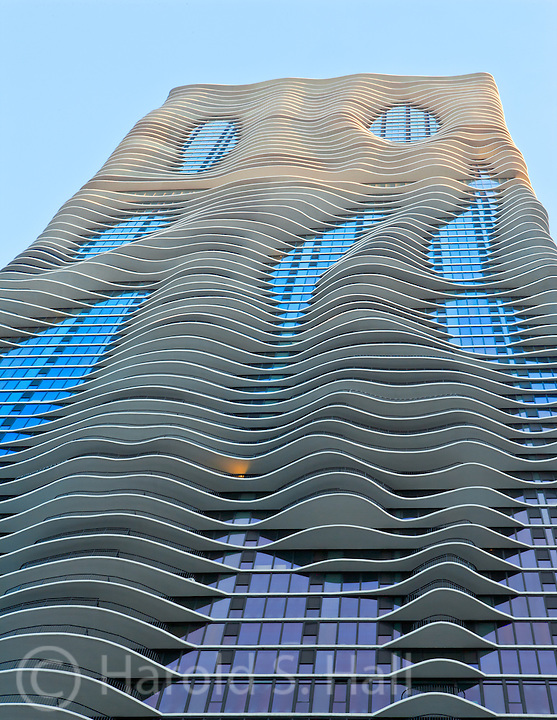 Aqua Building in Chicago, Illinois at sunset.
