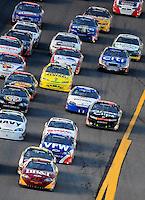 Jul. 4, 2008; Daytona Beach, FL, USA; Nascar Nationwide Series driver Clint Bowyer (2) leads the field during the Winn-Dixie 250 at Daytona International Speedway. Mandatory Credit: Mark J. Rebilas-