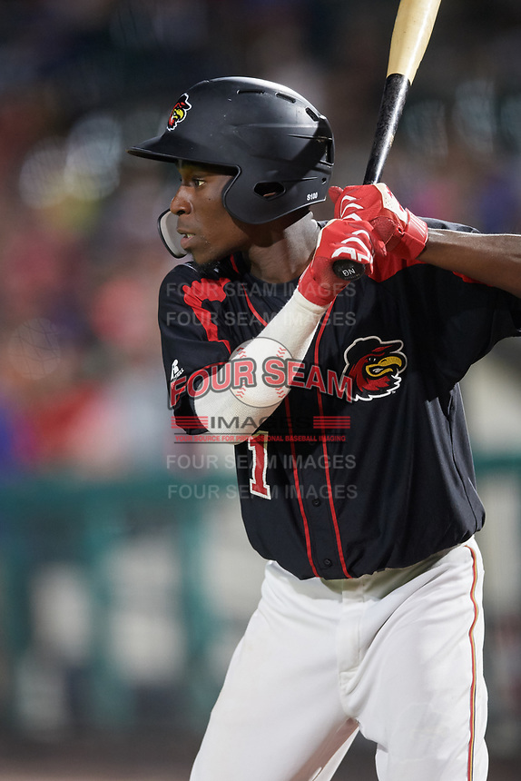Rochester Red Wings shortstop Nick Gordon (1) on deck during a game against the Lehigh Valley IronPigs on September 1, 2018 at Frontier Field in Rochester, New York.  Lehigh Valley defeated Rochester 2-1.  (Mike Janes/Four Seam Images)