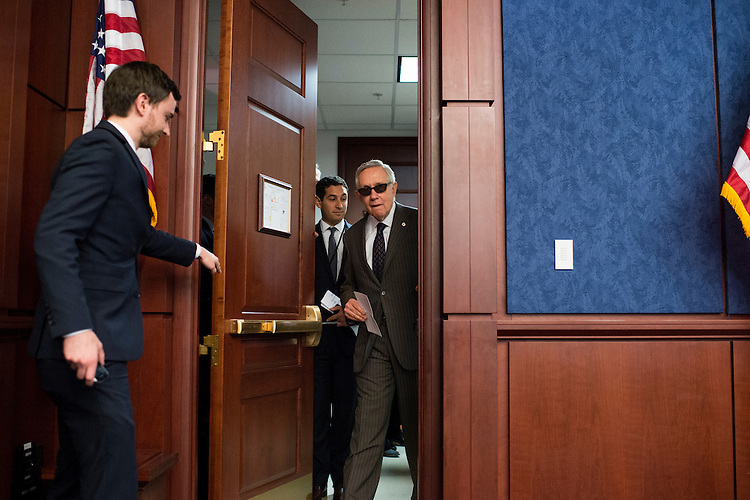 UNITED STATES - JULY 21: Senate Minority Leader Harry Reid, D-Nev., arrives for the Senate Democrats' news conference to highlight the fifth anniversary of Dodd-Frank financial reform legislation on Tuesday, July 21, 2015. (Photo By Bill Clark/CQ Roll Call)