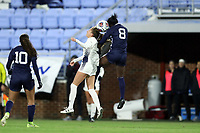 CHAPEL HILL, NC - NOVEMBER 16: Brianna Pinto #8 of the University of North Carolina and Avery Nowak #3 of Belmont University challenge for a header during a game between Belmont and North Carolina at UNC Soccer and Lacrosse Stadium on November 16, 2019 in Chapel Hill, North Carolina.