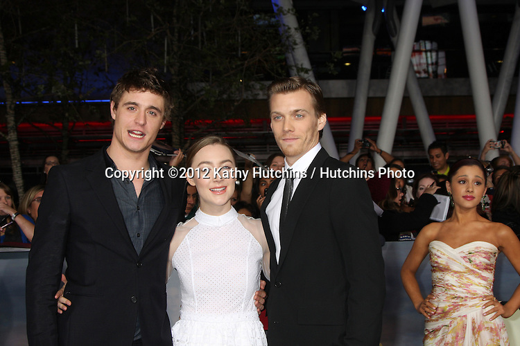 """LOS ANGELES - NOV 12:  Max Irons, Saoirse Ronan, Jake Abel arrive to the 'The Twilight Saga: Breaking Dawn - Part 2"""" Premiere at Nokia Theater on November 12, 2012 in Los Angeles, CA"""