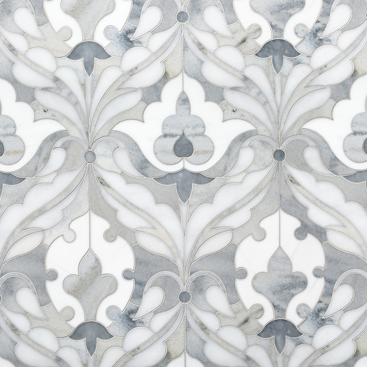 Jocelyn, a waterjet stone mosaic, shown in polished Dolomite, polished Afyon White, polished Allure, and honed Cashmere.