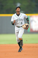 Shortstop Tim Beckham (6) of the Princeton Rays on defense at Burlington Athletic Park in Burlington, NC, Wednesday, August 13, 2008. (Photo by Brian Westerholt / Four Seam Images)