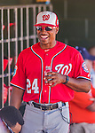 15 March 2016: Washington Nationals Assistant Hitting Coach Jacque Jones walks the dugout prior to the start of a Spring Training pre-season game against the Houston Astros at Osceola County Stadium in Kissimmee, Florida. The Nationals defeated the Astros 6-4 in Grapefruit League play. Mandatory Credit: Ed Wolfstein Photo *** RAW (NEF) Image File Available ***