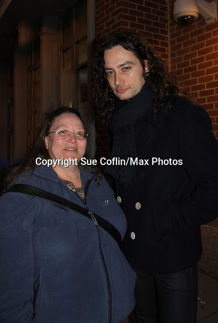 "Vikki poses with Bold and The Beautiful Constantine Maroulis stars in the touring production of Rock of Ages as ""Drew"" (starred in Rock of Ages from the beginning when it was off Broadway and then in the Broadway cast) on December 4, 2010 at the Hippodrome Theatre, Baltimore, Maryland. (Photo by Sue Coflin/Max Photos)"