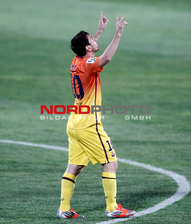 FC Barcelona's Lionel Messi celebrates goal during La Liga match.September 15,2012. Foto © nph / Acero) *** Local Caption ***